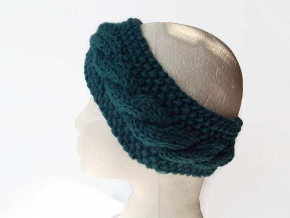 Hand Knitted Headbands Patterns : hand knitted headband earwarmer teal green with wool uk seller