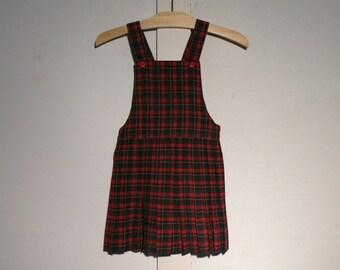 Vintage Girls Plaid Wool JUMPER 1950s Size 4