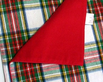 Flannel Baby Blanket, 34 x 34 inches, Red and White Plaid, Baby Carrier Blanket, Small Throw, Traditional Baby Blanket, New Baby Gift,Unisex