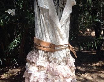 showdiva designs Lace Vest Dress Asymmetrical Ruffles Bohemian Chic