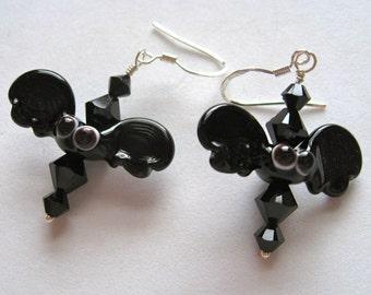 Batty Bat Glass Lampwork Bead Earrings