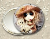 valentines day gift for her, gothic doll pocket mirror,  original art  hand mirror, mirror for purse, bridesmaid gift MIR-AD59
