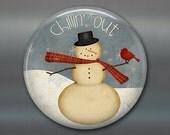primitive art fridge magnet, folk art snowman magnet, kitchen decor, holiday decoration, holiday magnet  MA-1384