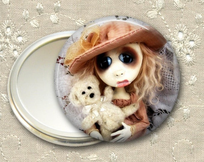 gothic doll pocket mirror,  original art  hand mirror, mirror for purse, bridesmaid gift, stocking stuffer MIR-AD59
