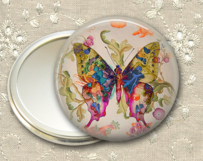 shabby butterfly pocket mirror,  boho chic mirror, mirror for purse, bridesmaid gift, stocking stuffer  MIR-363