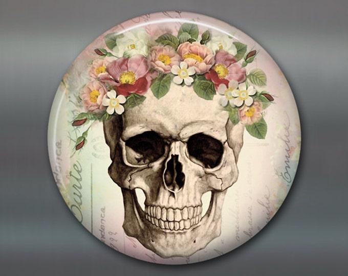 "3.5"" sugar skull fridge magnet, day of the dead magnet, halloween decoration, kitchen decor, large fridge magnet,  Dia de los Muertos MA-956"