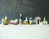 Vintage Cake Toppers, Circus Animals, Japan, Miniature, Bisque