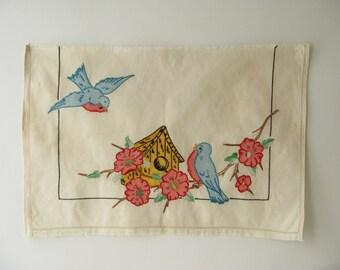 Vintage Embroidered Piece, Art Top, robin, bird