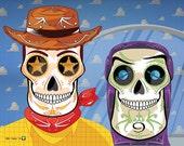 Toy Story's Woody and Buzz Sugar Skulls Print 11x14 print