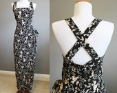 Criss Cross Dress Vintage Maxi Floral Open Back 90s Small