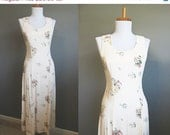 SALE 20% OFF Floral Dress Vintage Maxi Wiggle Bohemian Festival Pink Small