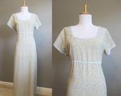 20% Off SALE LABOR DAY Maxi Dress Vintage Floral Empire Jane Austen Regency 90s Large