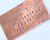 Reserved For Mikel - Wedding Album Plaque - Anniversary Bench Plaque - Copper - Custom Hand Stamped
