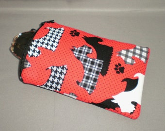 Scottie Dogs - Eyeglass or Sunglasses Case - Zipper Top - Padded Zippered Pouch - Red