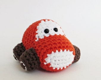 Crochet Car Baby Rattle Stuffed Toy - organic cotton - rusty red and brown