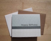 Modern Birthday Card - Dusty Teal Circle Dots, Happy Birthday Card, Neutral Modern Birthday Invitations, White Black Dusty Teal Pale Sage