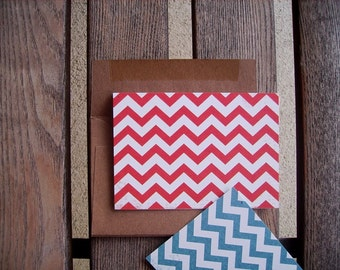 Chevron Note Cards - Modern Chevron Thank You Notes, Red Yellow Blue Primary Colors, Geometric Stationery Set, Chevron Stripe Note Cards