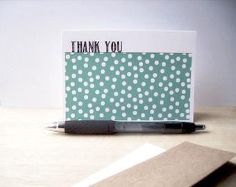 Modern Thank You Cards - Confetti Polka Dot Thank You Notes, Teal White Polka Dots, Thank You Card Set, Baby Showers, Weddings, Birthdays