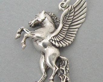 Sterling Silver 925 Charm Pendant PEGASUS WINGED HORSE 847