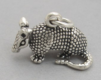 Sterling Silver 925 Charm Pendant 3D ARMADILLO TEXAS 2779