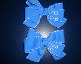 Licensed Hair Bow  with Sorority Greek Letters Personalized, Embroidered, Monogrammed for Big/Little