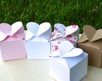 Heart Topped Favor Boxes in rose, white, kraft, or pink