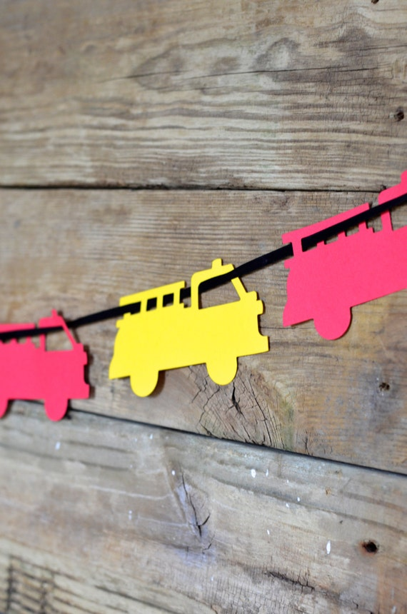 Fire Truck Banner Deluxe DIY Kit, red and yellow engines - or select a custom color!