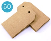 Kraft gift tags - 50 KRAFT BROWN cardstock parcel tags, hang tags - 1 9/16 x 2 3/4 inches - gift wrapping, wedding, packaging - 40 x 70 mms