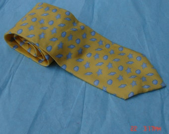 Vintage Yellow Silk Necktie with  Light Blue Seashells  - Made in the U.S.A.