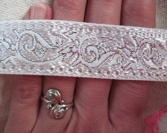 White and Silver  ENCHANTED SPIRIT jacquard woven ribbon