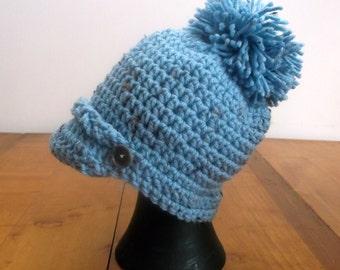 Hat, Crochet, Infant, NB to 3 Months, Blue With Flecks of Color, Brim, Pom