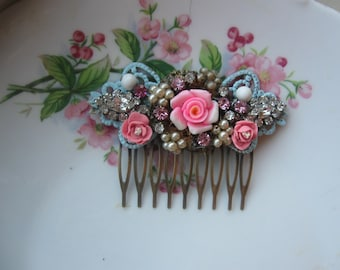 Whimsical Rose Garden of Dreams..vintage glass rhinestone bridal shabby chic french hair comb
