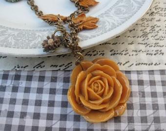 Butterscotch rose garden.vintage jewelry assemblage necklace