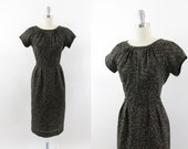 50s dress - 1950s brown cotton day dress