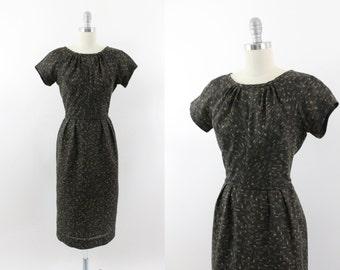 50s dress - 1950s brown cotton day dress