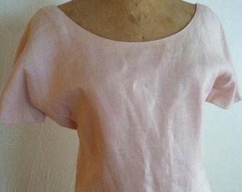 The Palest of Pink J. TIKTINER Vintage Linen Scoop Neck Dress 8