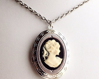 Classic Cameo Locket Necklace / Pick Your Length / Vintage Style Pendant Steampunk Victorian Costume Photo Keepsake Gift Silver Black White