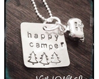 Personalized Hand Stamped Happy Camper necklace