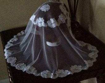 White lace - Princess Oval Style Prayer Mass Headcovering - Church or Chapel  veil mantilla scarf NEW