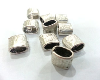 5 Pcs Antique Silver Plated Brass  Tube Beads G1990