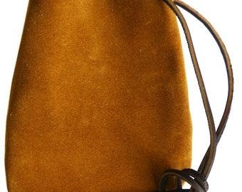 "Suede Drawstring Leather Pouch 6"" x 4 1/2"""