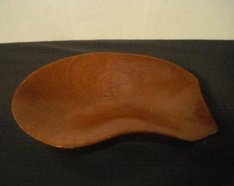 Vintage Mid Century Modern Hand Made Organic Mahogany Wood Wooden Bowl