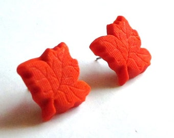 Orange Maple Leaf Earrings - Fall Autumn - Holiday Season - Polymer Clay Jewelry - Any Color