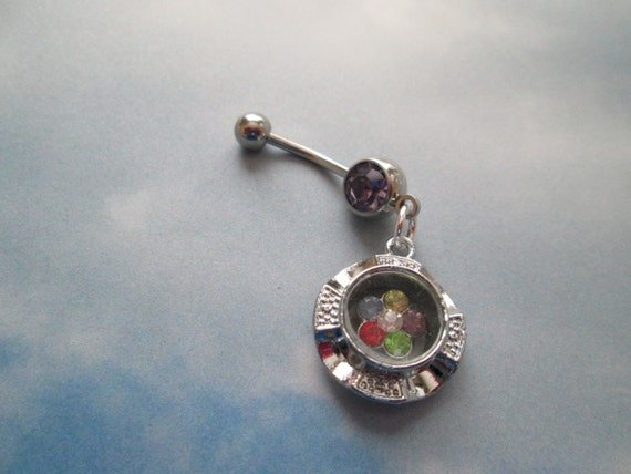 belly jewelry rhinestone moving flower belly button rings