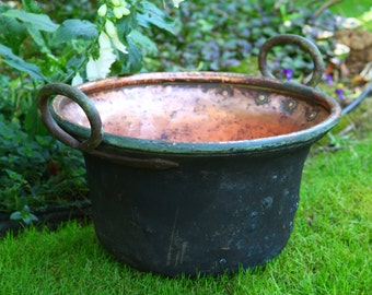 Large Copper Cauldren Wrought Iron Handles ~ 19th Century Apple Butter Pot ~ Hammered
