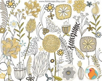 Gray & Yellow Modern Flower Clip Art,  Flower Digital ClipArt Download, Scrapbook Graphics, Card and Print Making, Commercial Use