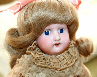 """SALE Reduced Price Antique 11"""" Heubach.Koppeldorf 250.13/o Germany Bisque Doll Kid  Body Original clothing glass eye open mouth teeth"""