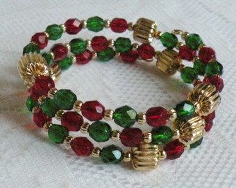 Christmas Wrap-Around Bracelet - Ruby Red and Emerald Green Czech Fire-Polished Glass - Available in Gold or Silver