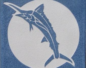 4x4 Marlin or Swordfish tile - Etched Porcelain Tile - SRA