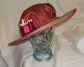 Red and Tan Edwardian Picture Hat- Downton Abbey, Titanic, Ascot, Kentucky Derby Style